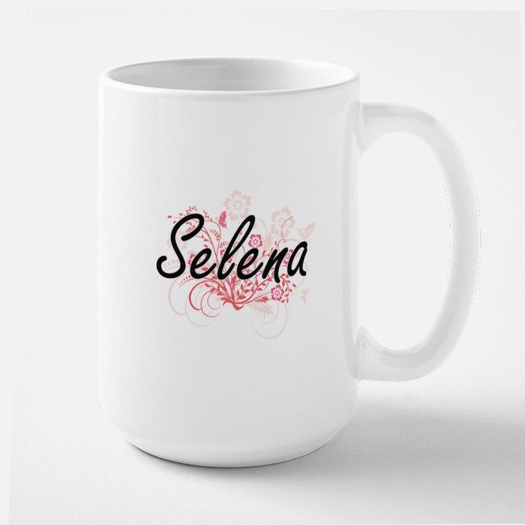 Selena Artistic Name Design with Flowers Mugs