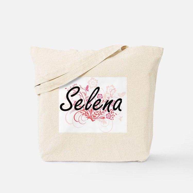 Selena Artistic Name Design with Flowers Tote Bag