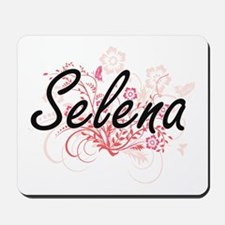 Selena Artistic Name Design with Flowers Mousepad