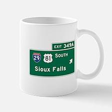 Sioux Falls, SD Road Sign, USA Mug
