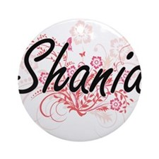 Shania Artistic Name Design with Fl Round Ornament