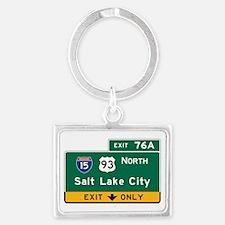 Salt Lake City, UT Road Sign, U Landscape Keychain