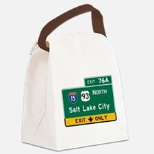 Salt Lake City, UT Road Sign, USA Canvas Lunch Bag