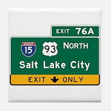 Salt Lake City, UT Road Sign, USA Tile Coaster