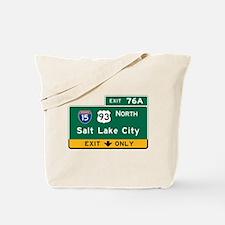 Salt Lake City, UT Road Sign, USA Tote Bag
