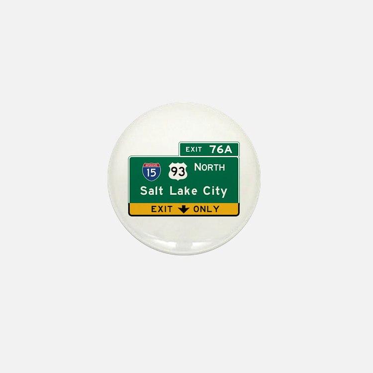 Salt Lake City, UT Road Sign, USA Mini Button