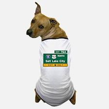Salt Lake City, UT Road Sign, USA Dog T-Shirt