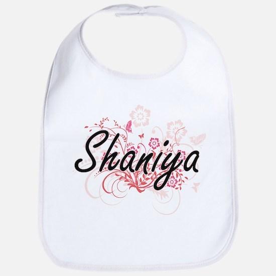 Shaniya Artistic Name Design with Flowers Bib