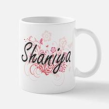 Shaniya Artistic Name Design with Flowers Mugs
