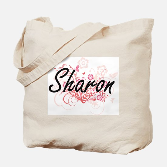 Sharon Artistic Name Design with Flowers Tote Bag
