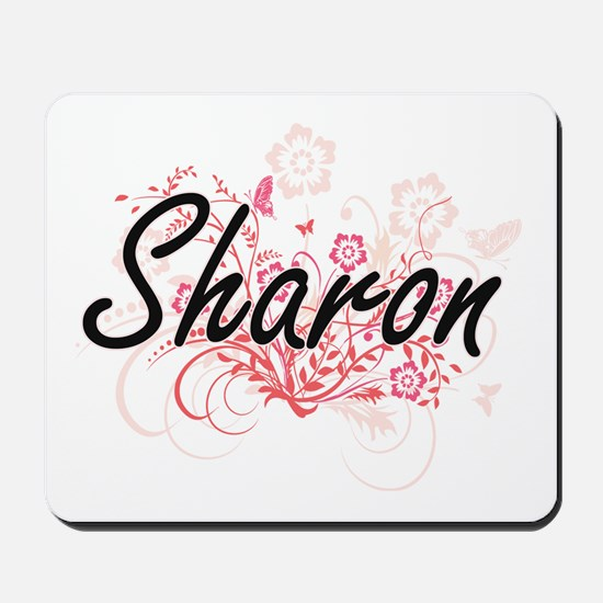 Sharon Artistic Name Design with Flowers Mousepad