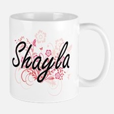 Shayla Artistic Name Design with Flowers Mugs