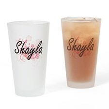 Shayla Artistic Name Design with Fl Drinking Glass