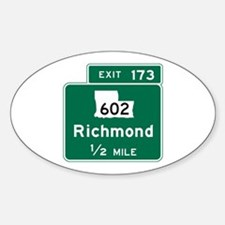 Richmond, VA Road Sign, USA Sticker (Oval)
