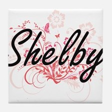 Shelby Artistic Name Design with Flow Tile Coaster