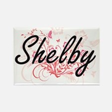 Shelby Artistic Name Design with Flowers Magnets