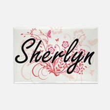 Sherlyn Artistic Name Design with Flowers Magnets