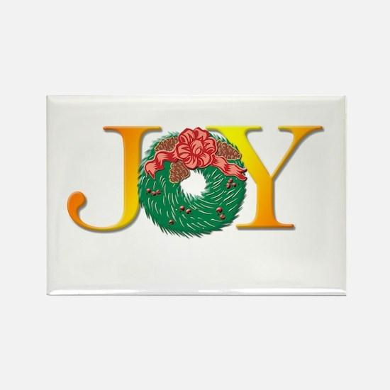 Joy Christmas Wreath Rectangle Magnet