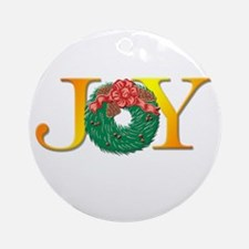 Joy Christmas Wreath Ornament (Round)