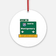 Montgomery, AL Road Sign, USA Round Ornament