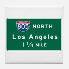 Los Angeles, CA Road Sign, USA Tile Coaster