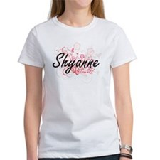 Shyanne Artistic Name Design with Flowers T-Shirt