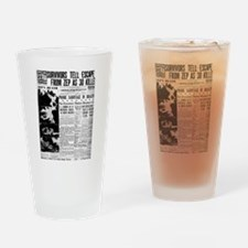 Old newspaper poster Zep Crash News Drinking Glass