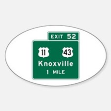 Knoxville, TN Road Sign, USA Sticker (Oval)