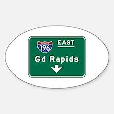 Grand Rapids, MI Road Sign, USA Sticker (Oval)