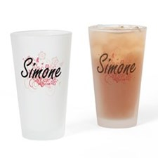Simone Artistic Name Design with Fl Drinking Glass