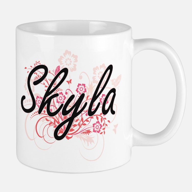 Skyla Artistic Name Design with Flowers Mugs