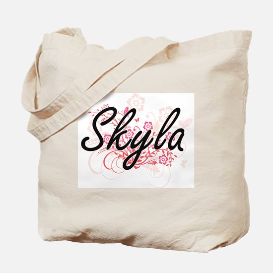 Skyla Artistic Name Design with Flowers Tote Bag