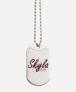Skyla Artistic Name Design with Flowers Dog Tags