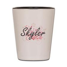 Skyler Artistic Name Design with Flower Shot Glass