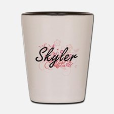 Skyler Artistic Name Design with Flower Shot Glass