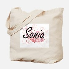 Sonia Artistic Name Design with Flowers Tote Bag