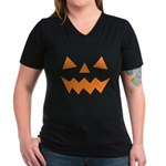 Orange Jack-O-Lantern Women's V-Neck Dark T-Shirt