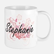 Stephanie Artistic Name Design with Flowers Mugs