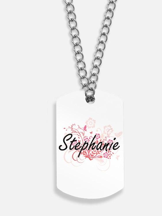 Stephanie Artistic Name Design with Flowe Dog Tags
