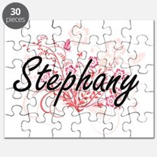 Stephany Artistic Name Design with Flowers Puzzle