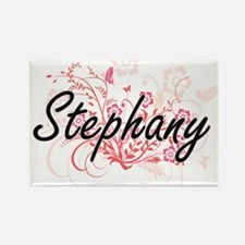 Stephany Artistic Name Design with Flowers Magnets