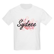 Sydnee Artistic Name Design with Flowers T-Shirt