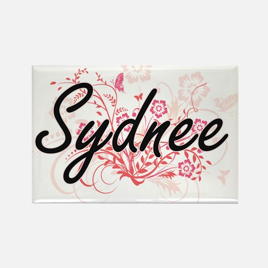 Sydnee Artistic Name Design with Flowers Magnets