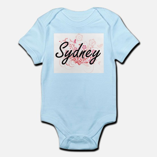 Sydney Artistic Name Design with Flowers Body Suit