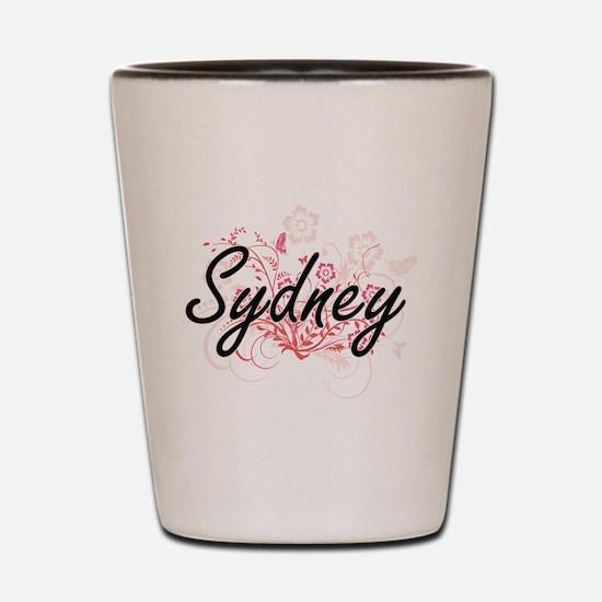 Sydney Artistic Name Design with Flower Shot Glass