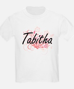 Tabitha Artistic Name Design with Flowers T-Shirt