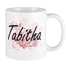 Tabitha Artistic Name Design with Flowers Mugs