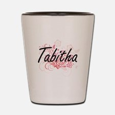 Tabitha Artistic Name Design with Flowe Shot Glass