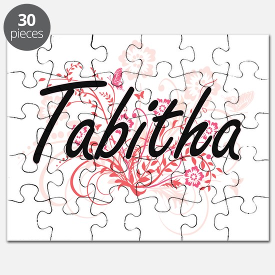Tabitha Artistic Name Design with Flowers Puzzle