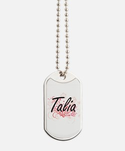 Talia Artistic Name Design with Flowers Dog Tags
